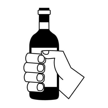 hand holding wine bottle on white background vector illustration 일러스트