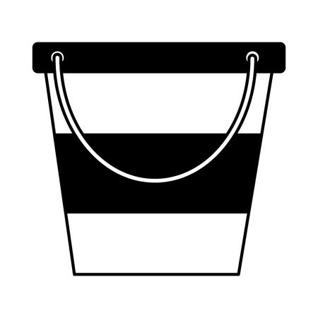 ice bucket utensil on white background vector illustration Çizim