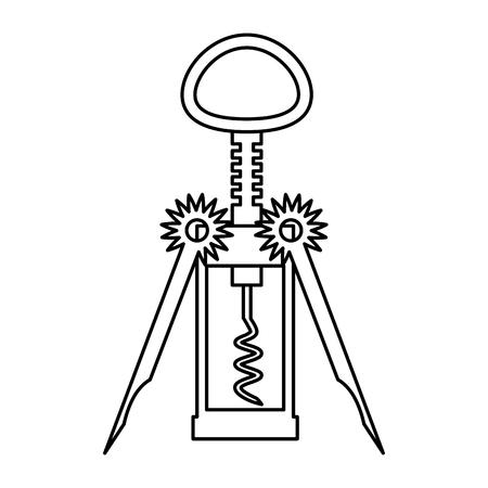corkscrew utensil on white background vector illustration Illustration