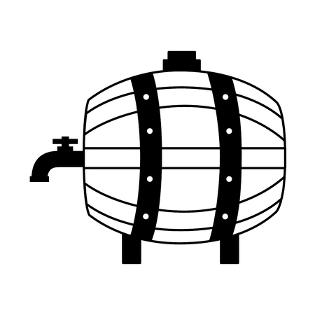 wooden barrel with tap on white background vector illustration Illustration