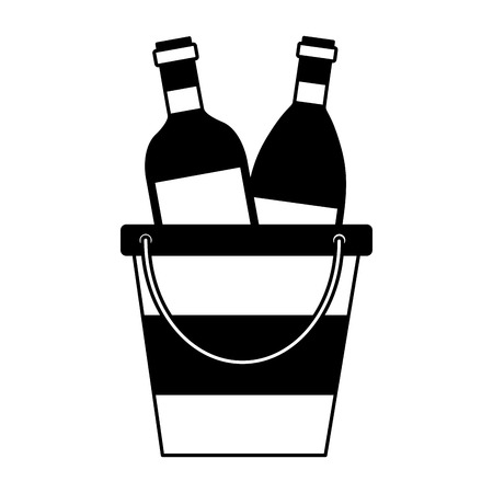 wine bottles ice bucket white background vector illustration