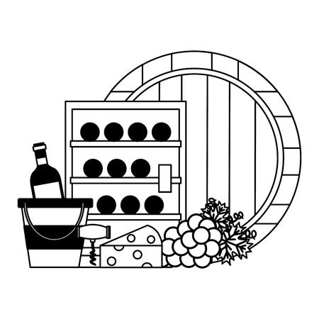 Refrigerador botellas de vino barril cuchara queso uvas ilustración vectorial
