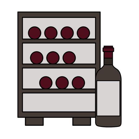 Refrigerador con botellas de vino fondo blanco ilustración vectorial Ilustración de vector