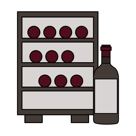 refrigerator with wine bottles white background vector illustration