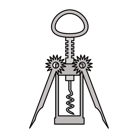 corkscrew utensil on white background vector illustration 向量圖像