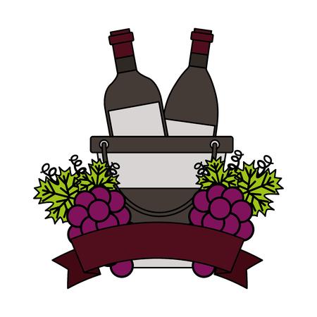 wine bottles ice bucket grapes fruit ribbon vector illustration