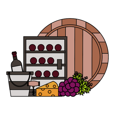 refrigerator wine bottles barrel bucket cheese grapes vector illustration Standard-Bild - 115689329
