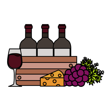 wine bottle on basket grapes cheese and glass cup vector illustration