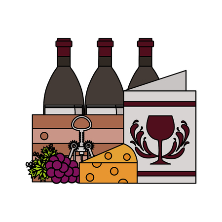 wine bottle cup grapes and cheese vector illustration