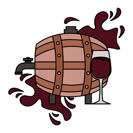 wine wooden barrel and glass cup splash vector illustration