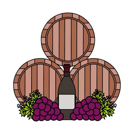 wine wooden barrels bottle and grapes vector illustration