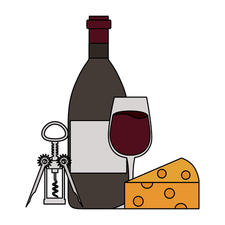wine bottle cup cheese and corkscrew vector illustration
