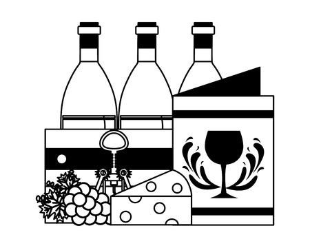wine bottles wooden basket menu cheese grapes corkscrew vector illustration Ilustrace