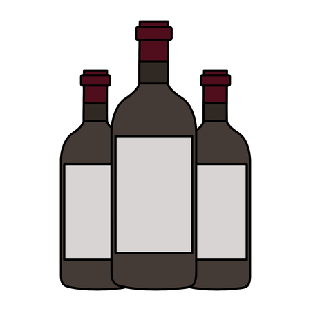 three wine bottles on white background vector illustration Illustration
