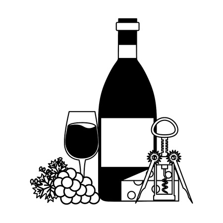 wine bottle cup grapes cheese and corkscrew vector illustration
