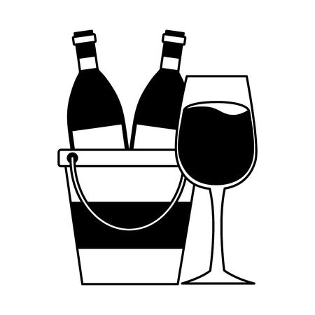 wine bottles cup ice bucket vector illustration