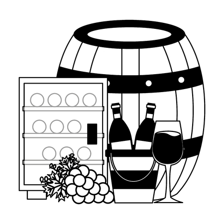 wine bottles ice bucket refrigerator cup and grapes vector illustration Ilustração