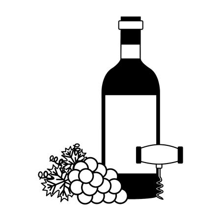 wine bottle corkscrew and grapes vector illustration Illustration