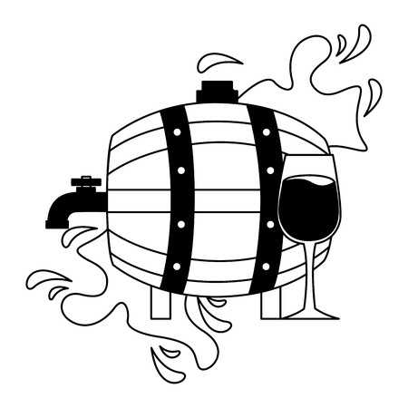 wine wooden barrel and glass cup splash vector illustration Foto de archivo - 115689462