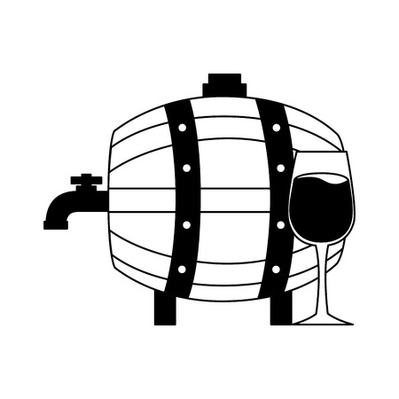 wine wooden barrel and glass cup vector illustration