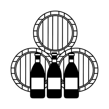 Ilustración de vector de botellas y barriles de madera de vino Ilustración de vector