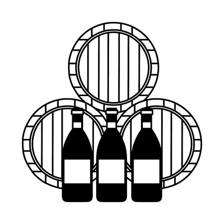 wine wooden barrels and bottles vector illustration