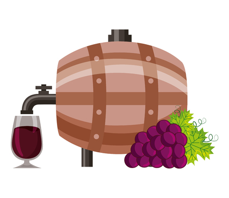 wine wooden barrel cup and grapes vector illustration Banque d'images - 115689582