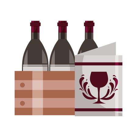 wine bottles on basket and restaurant menu vector illustration Illustration