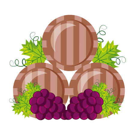 wine wooden barrels and grapes vector illustration