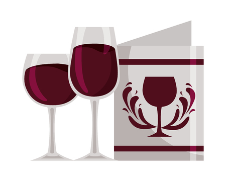 wine glass cups and restaurant menu beverages vector illustration