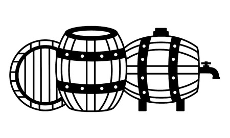 three wooden barrels on white background vector illustration