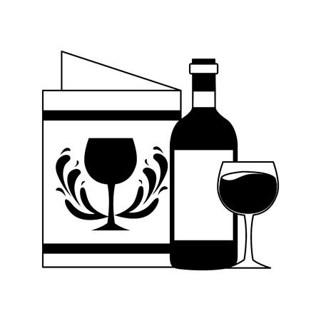 wine bottle cup and menu vector illustration Ilustração