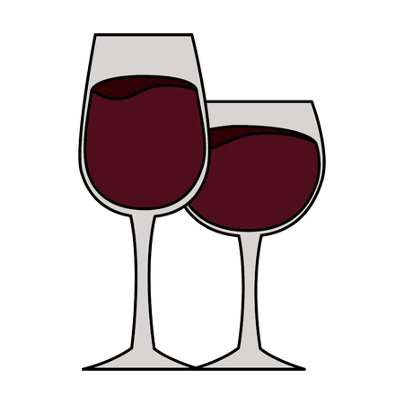 two wine cups on white background vector illustration
