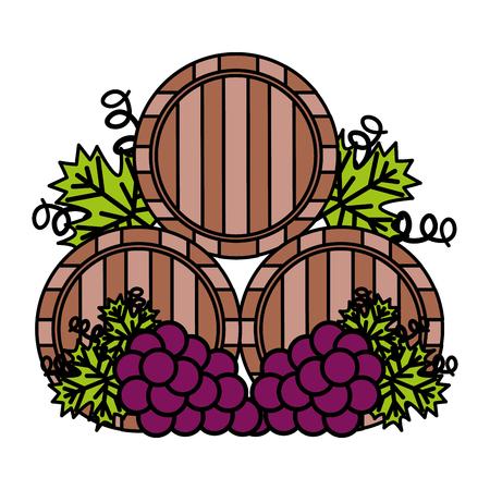 Barriles de madera de vino y uvas ilustración vectorial Ilustración de vector