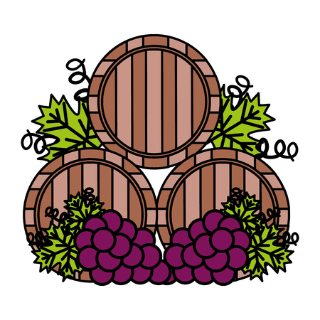 wine wooden barrels and grapes vector illustration Stock Vector - 115689594