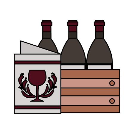 bottiglie di vino sul cestino e illustrazione vettoriale del menu del ristorante