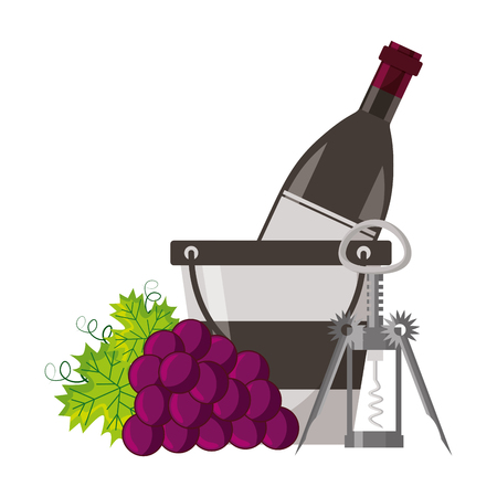 wine bottle ice bucket grapes and corkscrew vector illustration Illustration