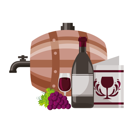 wine bottle barrel cup grapes menu vector illustration
