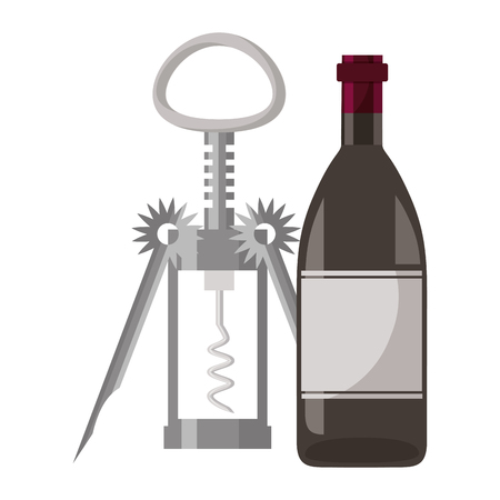 wine bottle corkscrew white background vector illustration