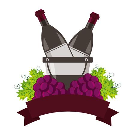 wine bottles ice bucket and grapes vector illustration Illustration