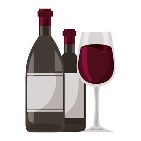 wine bottles and glass cup vector illustration Illustration
