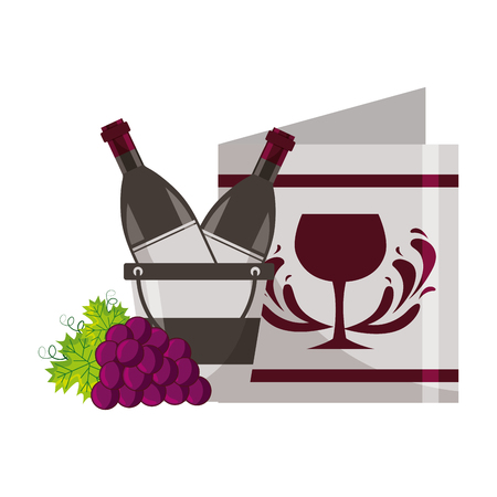 wine bottle ice bucket restaurant menu and grapes vector illustration