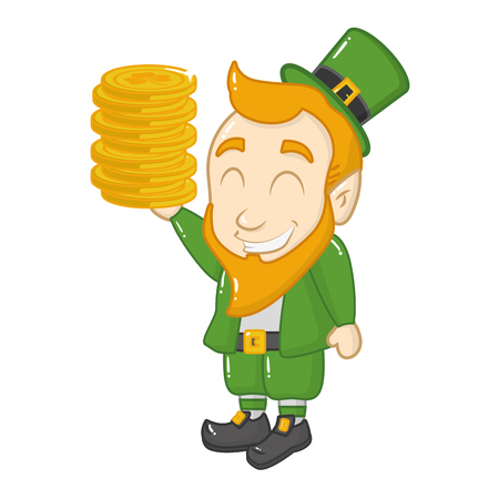 leprechaun holding coins happy st patricks day vector illustration Illustration