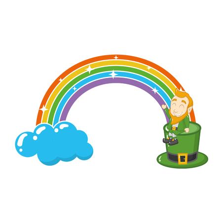 leprechaun sitting on hat rainbow happy st patricks day vector illustration
