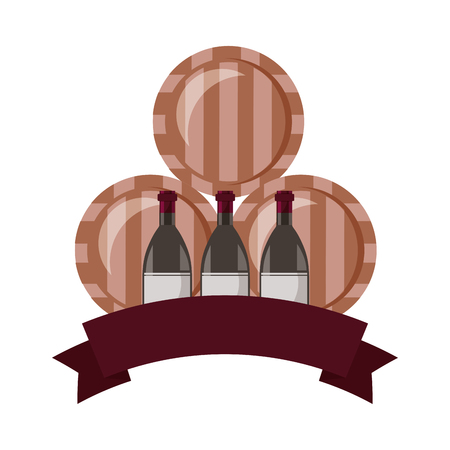 wine bottles and three barrels vector illustration