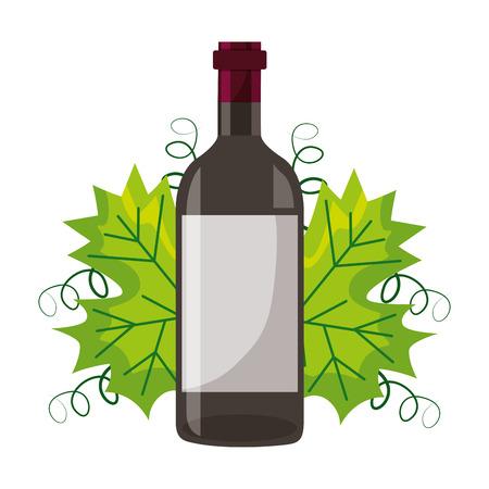 wine bottle and natural leaf vector illustration Ilustração