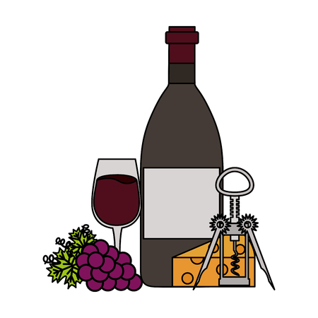 wine bottle cup grapes cheese and corkscrew vector illustration Banco de Imagens - 115689637