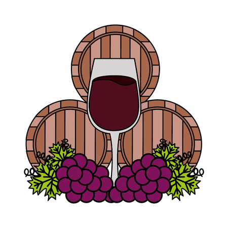 wine wooden barrels cup and grapes vector illustration