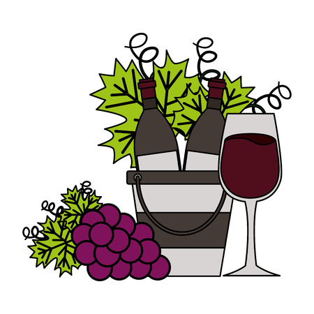 wine bottles ice bucket cup and grapes vector illustration