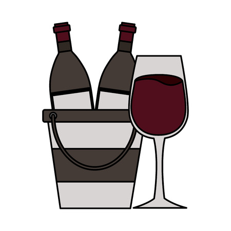 wine bottles cup ice bucket vector illustration